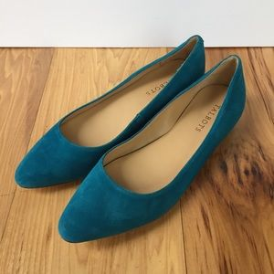 Talbots Teal Suede Flats Block Heel Pointed Toe